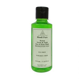 Khadi Pure Herbal Neem & Tulsi Face And Body Wash Sls-paraben Free - 210ml