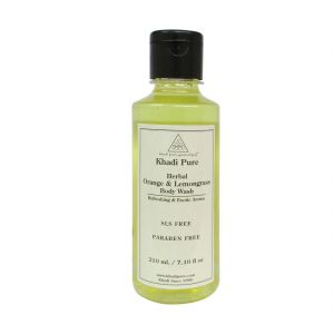 Khadi Pure Herbal Orange & Lemongrass Body Wash Sls-paraben Free - 210ml