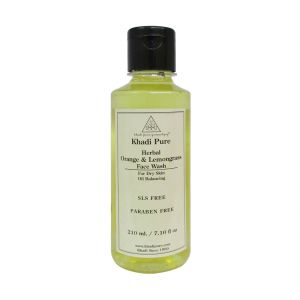 Khadi Pure Herbal Orange & Lemongrass Face Wash Paraben Free - 210ml