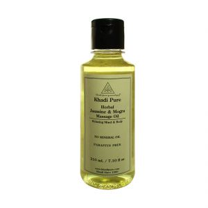 Globus,Diesel,Khadi,Gucci Skin Care - Khadi Pure Herbal Jasmine & Mogra Massage Oil with Paraffin-Mineral Oil Free - 210ml