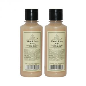 Globus,Diesel,Khadi,Nike,Kent,Ag Body Care - Khadi Pure Herbal Jasmine & Mogra Body Wash - 210ml (Set of 2)