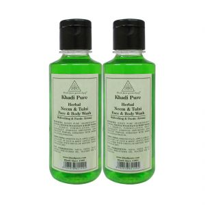 Khadi Pure Herbal Neem & Tulsi Face And Body Wash - 210ml (set Of 2)