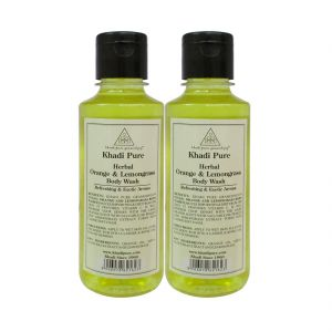 Khadi Pure Herbal Orange & Lemongrass Body Wash - 210ml (set Of 2)