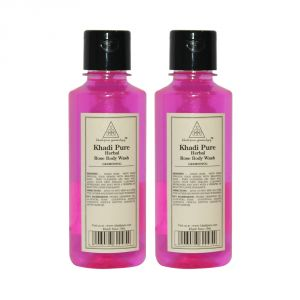 Globus,Diesel,Khadi,Nyx,Nike Skin Care - Khadi Pure Herbal Rose Body Wash - 210ml (Set of 2)