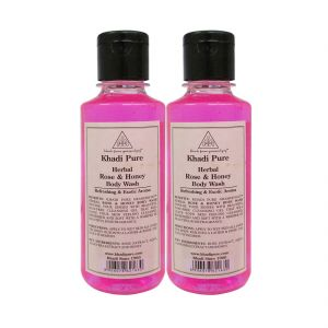Khadi Pure Herbal Rose & Honey Body Wash - 210ml. (set Of 2)