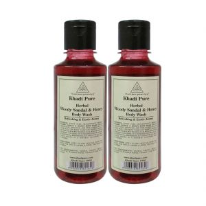Khadi Pure Herbal Woody Sandal & Honey Body Wash - 210ml (set Of 2)