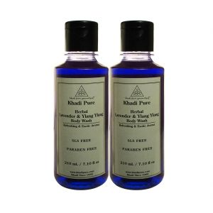 Khadi Pure Herbal Lavender & Ylang Ylang Body Wash Paraben Free - 210ml (set Of 2)