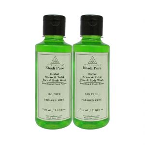 Khadi Pure Herbal Neem & Tulsi Face And Body Wash Paraben Free - 210ml (set Of 2)