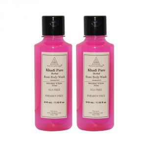 Globus,Diesel,Khadi,Gucci Skin Care - Khadi Pure Herbal Rose Body Wash SLS-Paraben Free - 210ml (Set of 2)