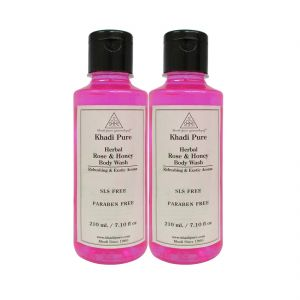 Khadi Pure Herbal Rose & Honey Body Wash Paraben Free - 210ml (set Of 2)