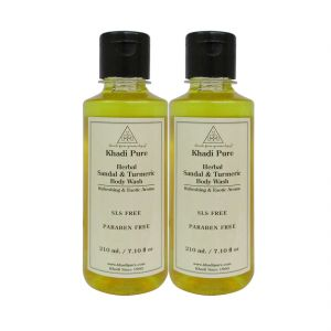Khadi Pure Herbal Sandal & Turmeric Body Wash Paraben Free - 210ml (set Of 2)