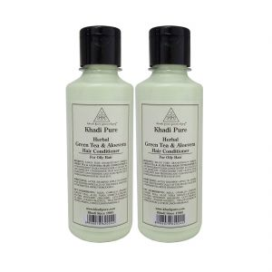Nike,Jovan,Adidas,Kaamastra,Khadi,Archies,Cameleon Personal Care & Beauty - Khadi Pure Herbal Green Tea & Aloevera Hair Conditioner - 210ml (Set of 2)