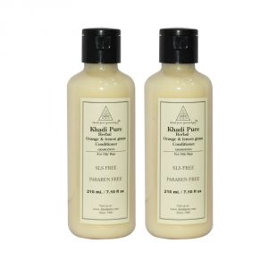 Benetton,Gucci,Cameleon,Globus,Indrani,Khadi Personal Care & Beauty - Khadi Pure Herbal Orange & Lemongrass Hair Conditioner SLS-Paraben Free - 210ml (Set of 2)