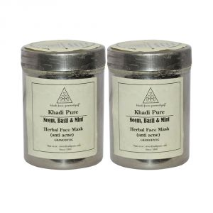 Khadi Pure Herbal Neem, Basil & Mint Face Mask (anti-acne) - 50g (set Of 2)