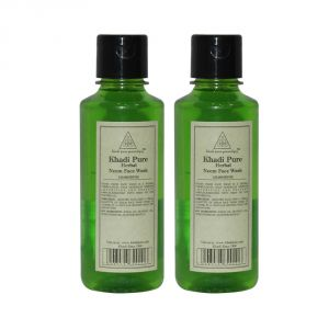 Globus,Garnier,Vaseline,Khadi,Neutrogena,Gucci Face Care - Khadi Pure Herbal Neem Face Wash - 210ml (Set of 2)