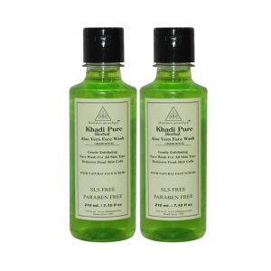 Khadi Pure Herbal Aloevera Face Wash Sls-paraben Free - 210ml (set Of 2)