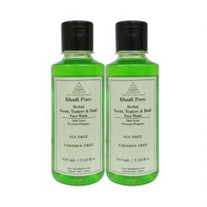 Khadi Pure Herbal Neem, Teatree And Basil Face Wash Paraben Free - 210ml (set Of 2)