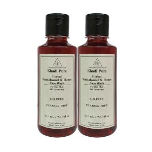 Khadi Pure Herbal Sandalwood & Honey Face Wash Paraben Free - 210ml (set Of 2)