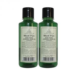 Khadi Pure Herbal Ayurvedic 18 Herbs Hair Oil - 210ml (set Of 2)