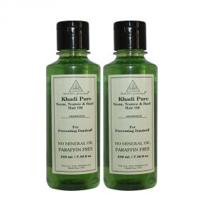 Khadi Pure Herbal Neem, Teatree & Basil Hair Oil - 210ml (set Of 2)
