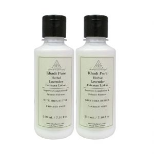 Globus,Diesel,Khadi,Banana Boat Skin Care - Khadi Pure Herbal Lavender Fairness Lotion with Sheabutter SLS-Paraben Free - 210ml (Set of 2)