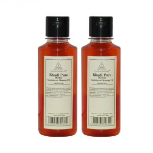 Globus,Diesel,Khadi,Nike,Kent,Jazz Personal Care & Beauty - Khadi Pure Herbal Sandalwood Massage Oil - 210ml (Set of 2)