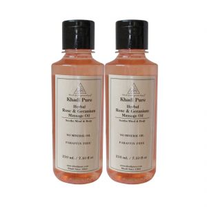 Globus,Diesel,Khadi,Nike,Kent,Indrani,Himalaya Personal Care & Beauty - Khadi Pure Herbal Rose Geranium Massage Oil Paraffin-Mineral Oil Free - 210ml (Set of 2)