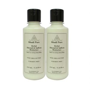 Khadi Pure Herbal Almond & Saffron Moisturizer With Sheabutter Paraben Free - 210ml (set Of 2)