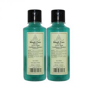 Khadi Pure Herbal Green Apple Shampoo   Conditioner - 210ml (Set Of 2)