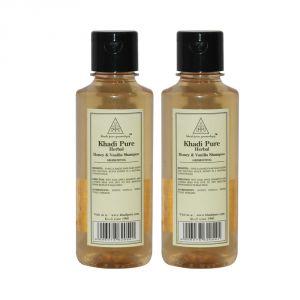 Khadi Pure Herbal Honey & Vanilla Shampoo - 210ml (Set Of 2)