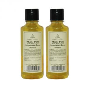 Khadi Pure Herbal Saffron, Tulsi & Reetha Shampoo - 210ml (set Of 2)