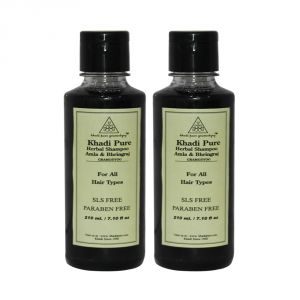 Khadi Pure Herbal Amla & Bhringraj Shampoo SLS-Paraben Free - 210ml (Set Of 2)