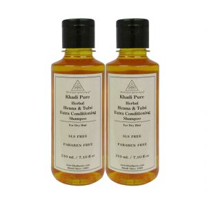 Khadi Pure Herbal Henna & Tulsi Extra Conditioning Shampoo SLS-Paraben Free - 210ml (Set Of 2)