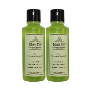 Khadi Pure Herbal Neem & Aloevera Shampoo SLS-Paraben Free - 210ml (Set Of 2)