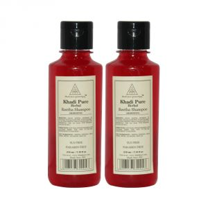Khadi Pure Herbal Reetha Shampoo SLS-Paraben Free - 210ml (Set Of 2)