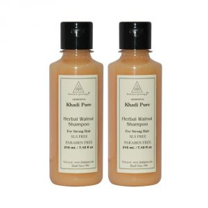 Khadi Pure Herbal Walnut Shampoo SLS-Paraben Free - 210ml (Set Of 2)