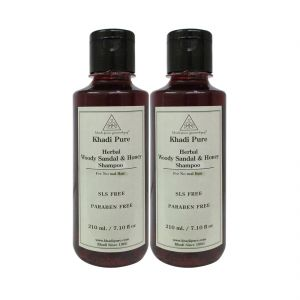 Khadi Pure Herbal Woody Sandal & Honey Shampoo SLS-Paraben Free - 210ml (Set Of 2)