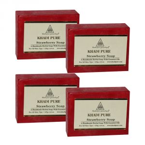 Khadi Personal Care & Beauty - Khadi Pure Herbal Strawberry Soap - 125g (Set of 4)