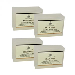 Nike,Maybelline,Kaamastra,Khadi,Rasasi,Indrani Skin Care - Khadi Pure Herbal Sandalwood Soap - 125g (Set of 4)
