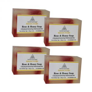 Khadi Pure Herbal Rose & Honey Soap - 125g (set Of 4)