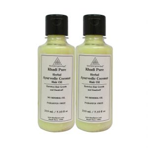 Globus,Diesel,Khadi,Gucci,Brut,Nova,Vaseline Personal Care & Beauty - Khadi Pure Herbal Ayurvedic Coconut Hair Oil - 210ml (Set of 2)