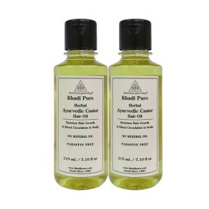 Globus,Diesel,Khadi,Nyx,Benetton,Ucb Personal Care & Beauty - Khadi Pure Herbal Ayurvedic Castor Hair Oil - 210ml (Set of 2)