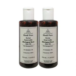 Nike,Jovan,Adidas,Kaamastra,Khadi,Globus Personal Care & Beauty - Khadi Pure Herbal Ayurvedic Bhringraj Root Hair Oil - 210ml (Set of 2)