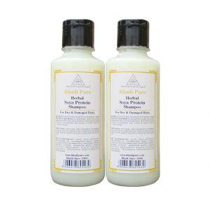 Khadi Pure Herbal Soya Protein Shampoo - 210ml (Set Of 2)