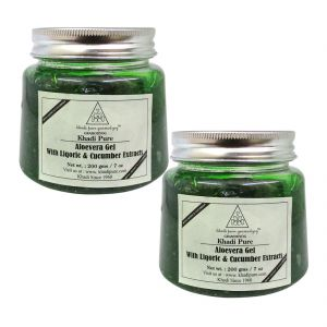Khadi Pure Herbal Aloevera Gel With Liquorice & Cucumber Extracts (green) - 200g (set Of 2)