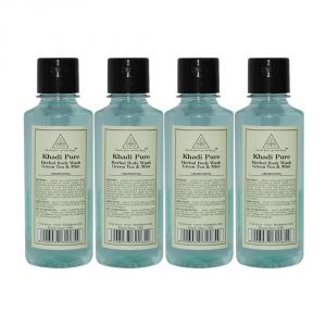 Diesel,Khadi,Banana Boat Skin Care - Khadi Pure Herbal Green Tea & Mint Body Wash - 210ml (Set of 4)