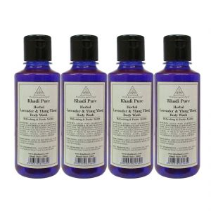 Khadi Pure Herbal Lavender & Ylang Ylang Body Wash - 210ml (set Of 4)
