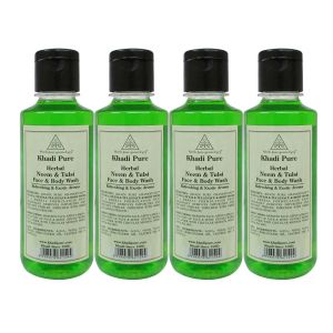 Khadi Pure Herbal Neem & Tulsi Face And Body Wash - 210ml (set Of 4)