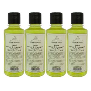 Nike,Maybelline,Kaamastra,Khadi,Rasasi Skin Care - Khadi Pure Herbal Orange & Lemongrass Body Wash - 210ml (Set of 4)