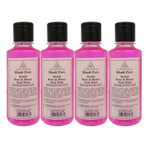 Khadi Pure Herbal Rose & Honey Body Wash - 210ml. (set Of 4)